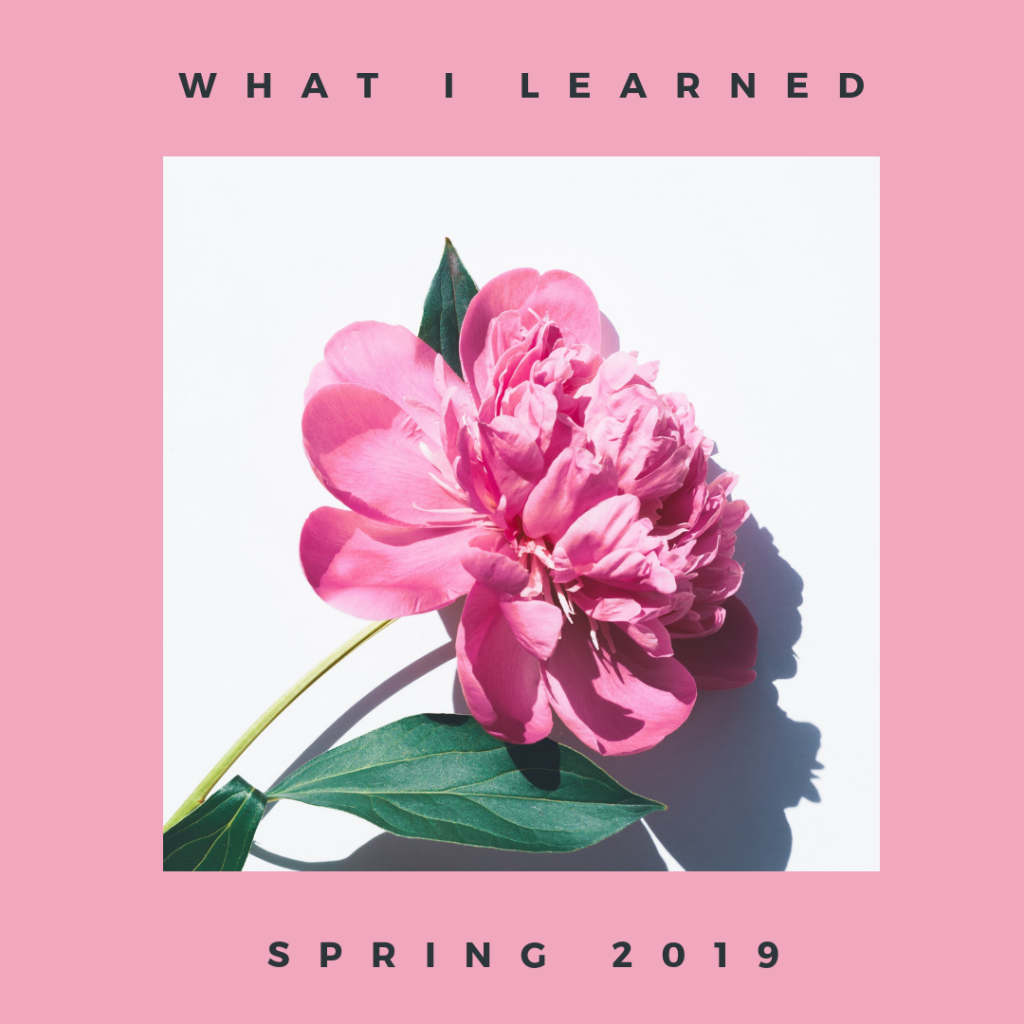 What I learned spring 2019